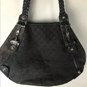 Gucci Pelham Black Canvas Monogram Hobo Bag